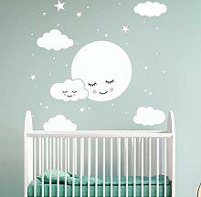 Wandaufkleber Smiley Sterne Weiße Wolken Cartoon
