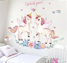 Wandaufkleber Stickerpink Flamingo Unicorn