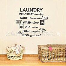 Wandaufkleber Wäsche Utensilien Muster Englisch