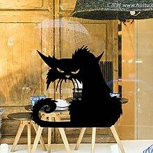 Wandaufkleber Wandaufkleber Halloween Black Cat