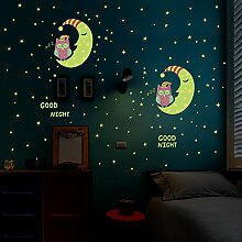 Wandaufkleber ZOZOSO Owl Moon Stars Leuchtender