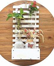 Wandbehänge Kreativer Balkon hängt an der Wand Massivholz Blumentöpfe Regal ( farbe : Weiß , größe : L*W*H:30*18*60cm )