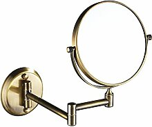 Wandbehang Edelstahl Badezimmerspiegel Klappspiegel Rasierspiegel Doppelseitig Spiegel Lupe 8in,D-5xMagnification