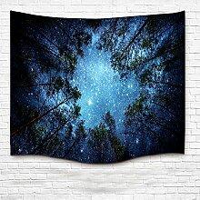 Wandbehang, SUNKAX Wandbehang Tapisserie Home Decoration Sternenhimmel Tapisserie mit Wald 3D Druck Tapisserie, 100% Nylon Stoff Dünn Gewebe und Leichtbau Design.