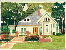 Wandbehang Typisches Ferienhaus mit Garten Marlow