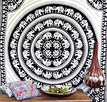 Wandbehang, Wandtuch, Tagesdecke mit Elefanten Mandala Nr. 2 / Keltische Tagesdecken