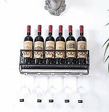 Wandbehang Weinkühler Hängendes Eisen Weinregal Wandregal Invertiertes Weinglas Rack Weinregal ( Farbe : Schwarz , größe : 50 cm )
