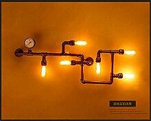 Wandbeleuchtung,Retro Industrial Wind Loft Bar Flurbeleuchtung Thema Cafe Wasserleitung Dekoration Wand Lampe, 1150mm*430mm