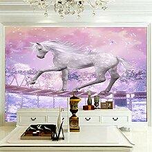 Wandbild 300x210cm -Tierisches Weißes Pferd-
