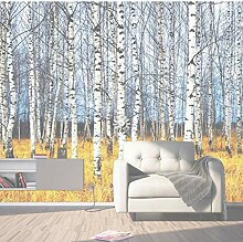 Wandbild 3d fototapete herbst weiße birke wald