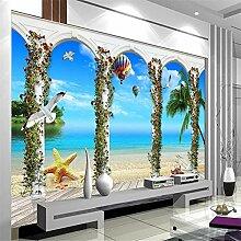 Wandbild, 3D Hd Römische Säule Meerblick 3D