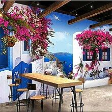 Wandbild, 3D-Tapete, Fenster, Mediterrane Rose Tv