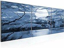 Wandbild Afrika Elefant Bilder 120 x 40 cm Vlies -