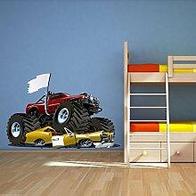Wandbild Aufklbeber - Motiv: Monster Truck - für Jungen Schlafzimmer - Mehrfarbig, Large