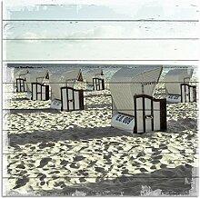 Wandbild aus Holz   Holzbild   Shabby-Look   Landhaus   Strand   Strandkörbe   Vintage   Geschenk   ca. 50x50 cm