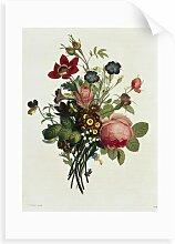 Wandbild Blumenstrauß mit Rosen und Lilien von