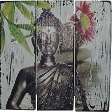 Wandbild Buddha in Weiß World Menagerie