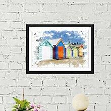 Wandbild Bunte Strandhütten Melbourne, Australien