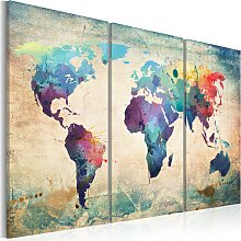 Wandbild - Bunte Weltkarte - Triptychon