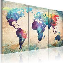 Wandbild - Die Welt gemalt mit Wasserfarben
