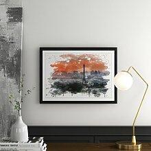Wandbild Eiffelturm im Sonnenuntergang in Paris
