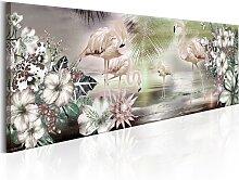 Wandbild - Flamingoes and Flowers