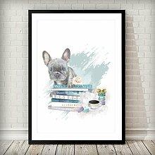 Wandbild French Bulldog Puppy and Fashion Books