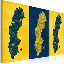 Wandbild - Gemalte Landkarte von Schweden -