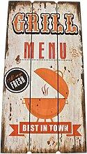 Wandbild Grill Menu Design MDF 78x39cm bunt Kunstdruck Schild Vintage Retro
