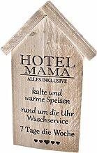 Wandbild Hotel Mama Lyrik Design Bauholz 32x20cm natur Zitate
