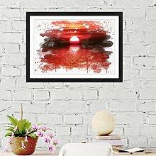 Wandbild Landschaft Roter Sonnenuntergang