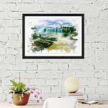 Wandbild Landschaft Wasserfall East Urban Home