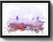 Wandbild Landschaft Windmühle und Bach
