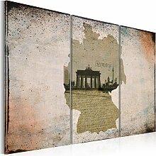 Wandbild - map: Germany, Brandenburg Gate -