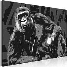 Wandbild - Pop Art Monkey (1 Part) Narrow Grey