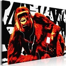 Wandbild - Pop Art Monkey (1 Part) Narrow Red