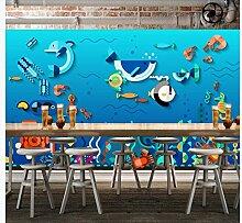 Wandbild Tapete3D Cartoon Unterwasserweltwand,