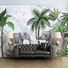 Wandbild Tapete 3D Elefant Marmor Pflanze Wald