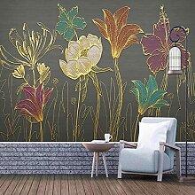 Wandbild Tapete Luxus Blume Pflanze Blatt 3D