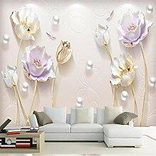 Wandbild Tapeten Wandtattoosbeibehang Perle Tulpen