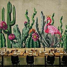 Wandbild Tapeten Wandtattooskakteen Flamingo