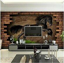 Wandbild Vintage Ziegel Tapeten Pferd Fototapete