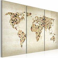Wandbild - Welt in beigen Farbtönen - Triptychon