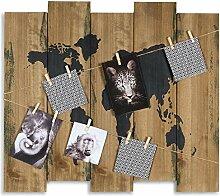 Wandbild Weltkarte B x H x T: 60x53x2cm Holz Braun