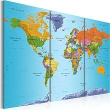 Wandbild - World Map: Colourful Note