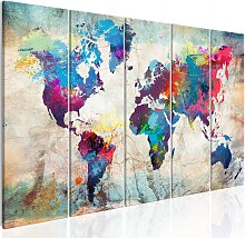 Wandbild - World Map: Cracked Wall