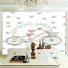 Wandbilder 350×256 cm -Rosa Liebesfahrrad-