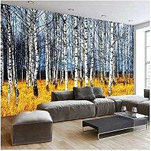 Wandbilder 3D Fototapete Herbst Weiß Birkenwald