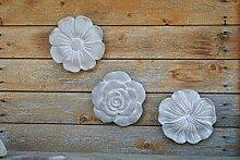 Wandbilder Blüten,3er Set mit verschiedenen Blüten,grau,je 20cm