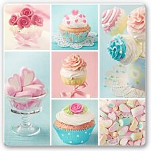 Wandbilder - Glasbild Cupcake Collage